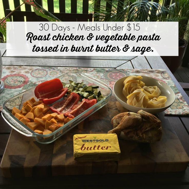 30 Days Of Meals Under $15 - Day 1 Roast Chicken & Vegetable Pasta tossed in burnt butter & sage. Don't forget to check out the website www.thecolourfulhousewife.com.au