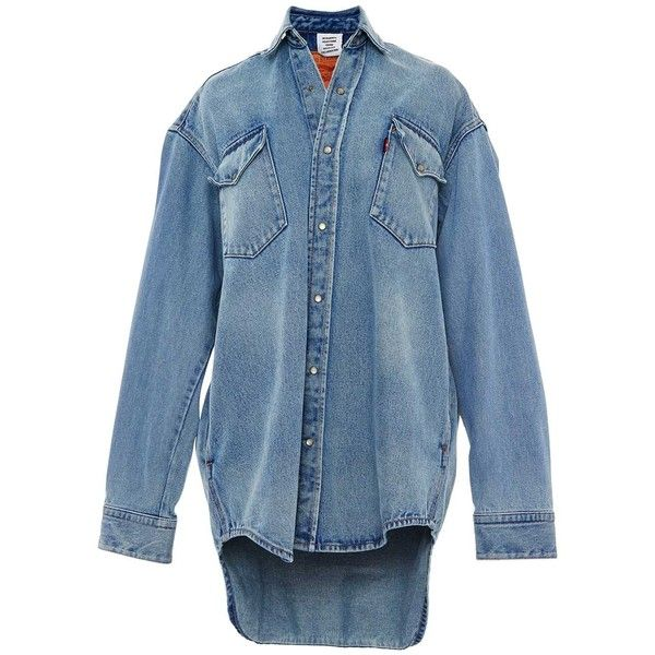 Vetements Levi's Oversized Denim Button Down Shirt (20.112.005 IDR) ❤ liked on Polyvore featuring tops, clothing /, denim, kirna zabete, long sleeve button down shirts, collared shirt, long sleeve collar shirt, blue collar shirt and long-sleeve shirt