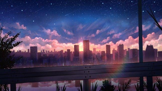 Wallpaper Anime Cityscape Polychromatic Sunset Rainbow Skyscrapers Wallpapermaiden Anime Scenery Wallpaper Anime City Anime Scenery City anime landscape wallpaper 4k