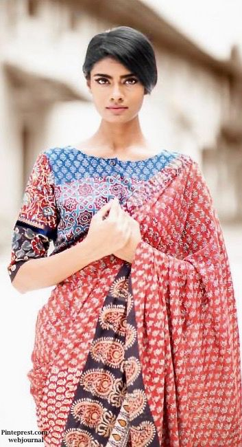Shalini James' Mantra: Indian by Choice Collection - Kalamkari prints, mashru , Ikat with Jaipur block prints, Khari prints, zari varanasi weaves with embroidery - http://www.mantraonline.net/