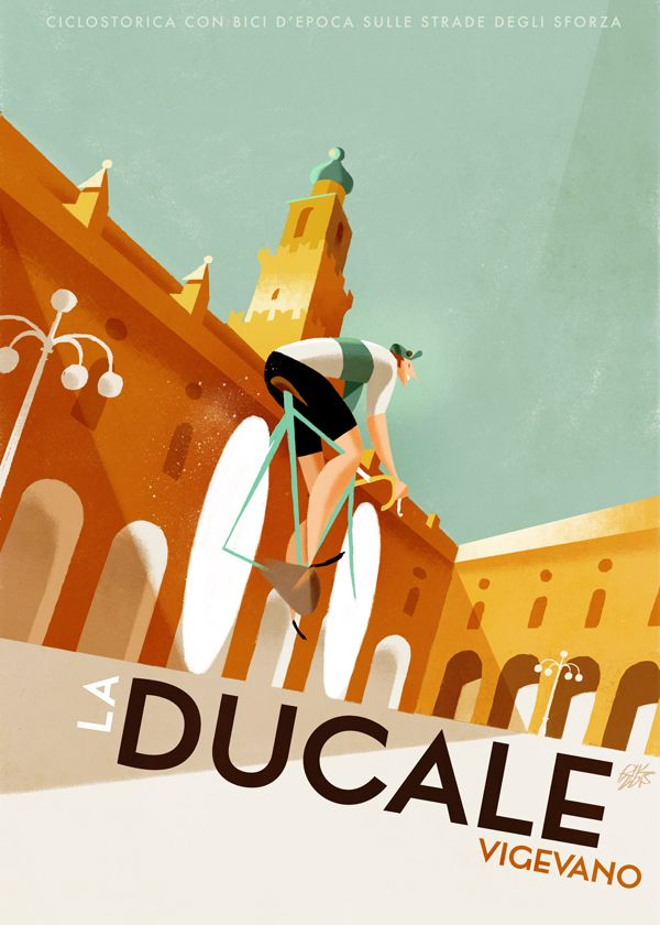 Riccardo Guasco illustration for La Ducale historical bicycle race in Vigevano, Italy.