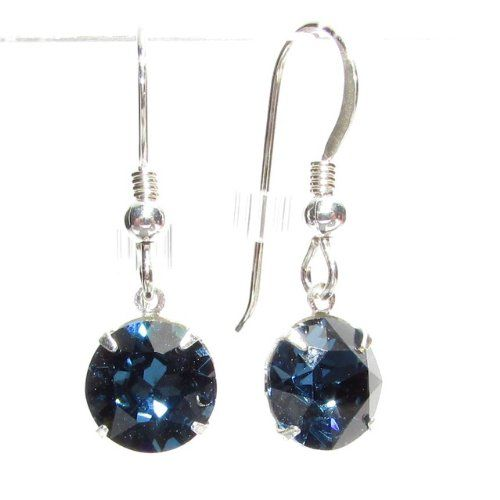 SILVER DROP EARRINGS MADE WITH SPARKLING MONTANA SWAROVSKI CRYSTAL. HIGH QUALITY. LOW PRICES.
