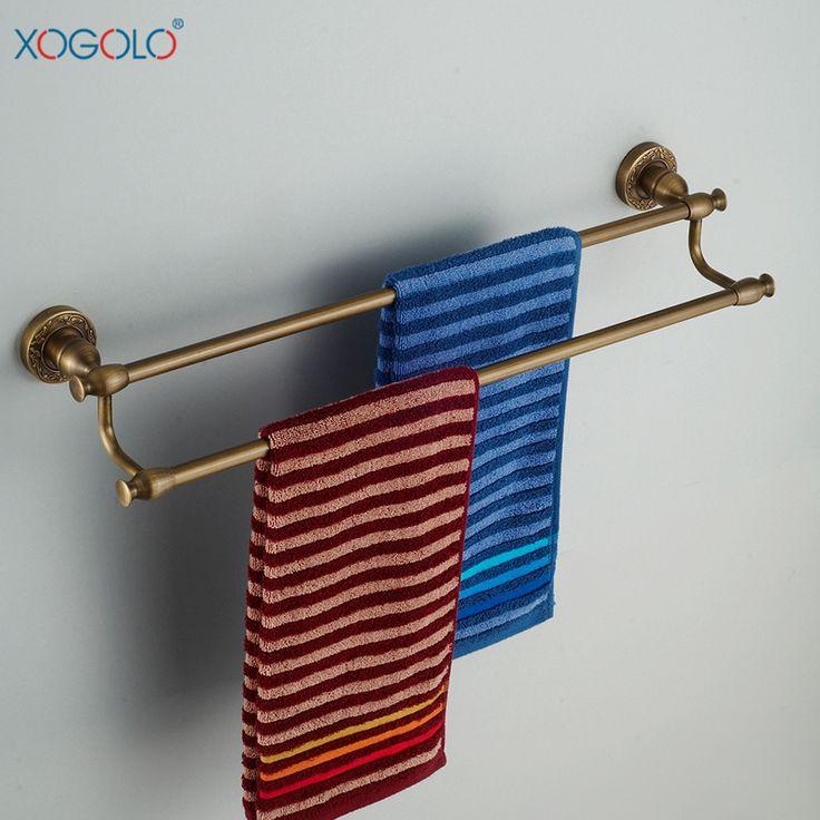 Купить товарXogolo все меди толщиной антикварные двойной шарнир ванной полотенце бар вешалка для полотенец аксессуары для ванной комнаты евро 9648 в категории Бамбуковые полына AliExpress.