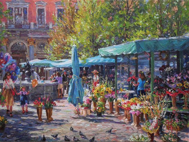 """Obrazy szpachlą malowane...: Obraz """"Plac Solny""""© Barbara Jaśkiewicz, """"Plac S..."""