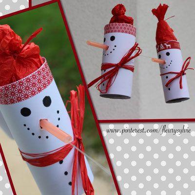 Bonhommes de neige sur un fil avec rouleaux papier WC + pailles. www.toutpetitrien.ch/bricos/ - fleurysylvie