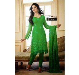 Buy Dinnar Georgette Green Semi Stitched Salwar Suit at Socrase.com