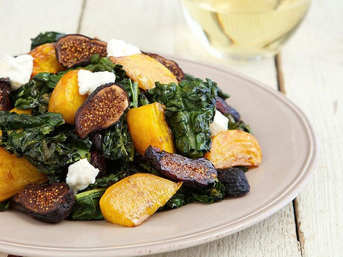 Roasted Kale and Beet Salad with Goat Cheese. Healthy, filling, pairs ...