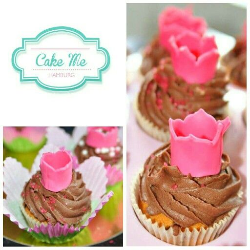Chocolate cupcakes for a princes with fondant tiara / crown . Swirl chocolate buttercream which is soooo yummy. Idea for a girl's birthday party if u have a cake with tiara or princess