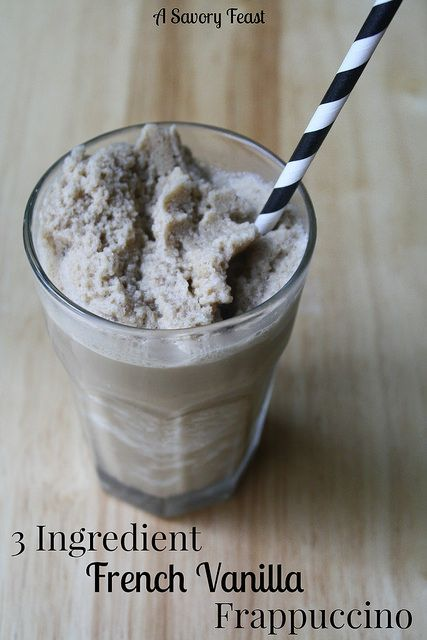 3 Ingredient French Vanilla Frappuccino. It's so easy to make your favorite coffee drinks at home!