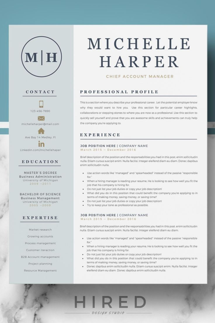 Resume Template With Headshot Photo Cover Letter 1 Page Word Resume Design Diy Cv T In 2020 Graphic Design Resume Resume Design Creative Resume Design Professional