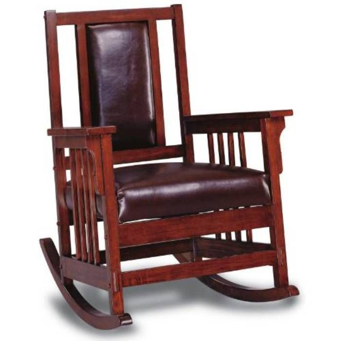 Lowest Price Online On All Coaster Mission Style Wood Rocker With Leather  Match Seat And Back   600058