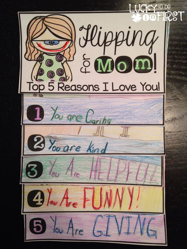 Flipping for Mom - Top 5 Reasons I Love you! Easy Mother's Day project for your class!