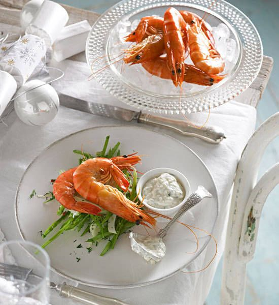 Prawns with tarator sauce and fennel salad: Get stuck into some succulent seafood with this fab prawn dish.