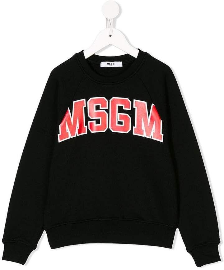 a1fc53873ad50 logo sweatshirt  logo cotton Black Msgm Kids