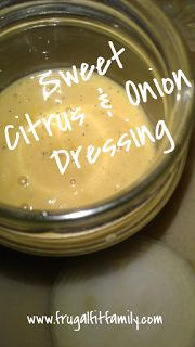 Sweet Citrus & Onion Dressing - omit the oil, sugar and honey, add 4 pitted dates. Great on salad with cabbage, carrots, broccoli, sunflower seeds, and bacon/facon.