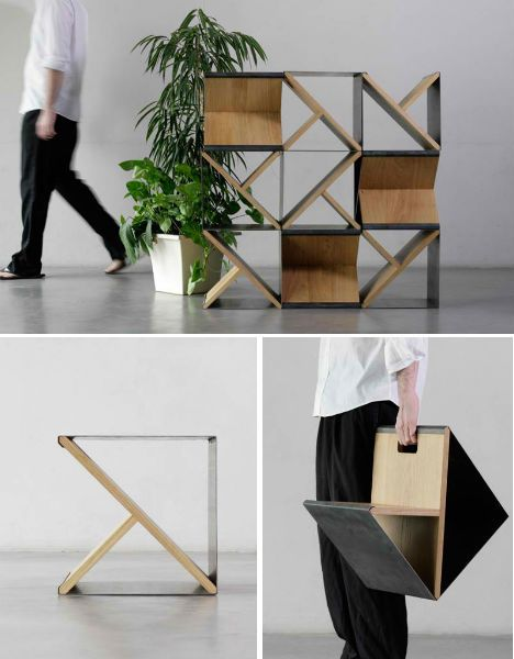 Steel stool. An oak Y-frame supports a simple metal sheet to create either an individual stool, or a shelving system when stacked.