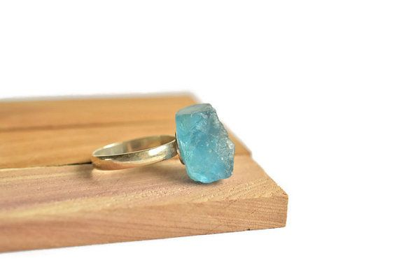 Ocean blue gemstone ring with a sterling silver band. Use coupon code pinfor5 for 5% off your purchase!  #gemstone #boho #bohemian