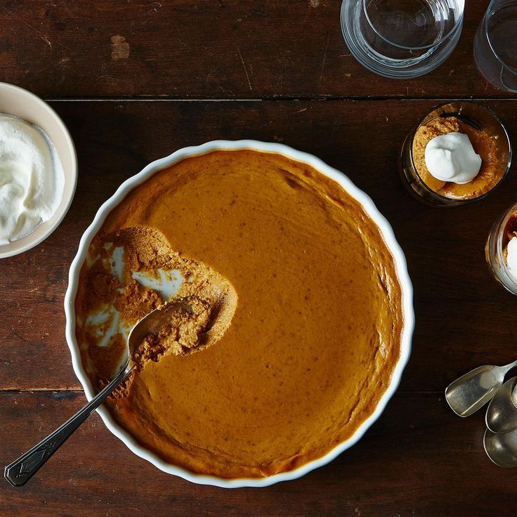Pumpkin Pudding (a.k.a. No-Pie Pumpkin Pie) Recipe on Food52  One pinner suggested added crushed Cinnamon Graham Crackers to the top of the serving, for some CRUNCH.