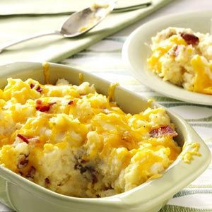 Double-Baked Mashed Potatoes Recipe - these were awesome! We eliminated the onion though and added a little extra butter. These were easy to make and definitely worth trying if you don't like the potato shells from normal twice-baked potatoes.