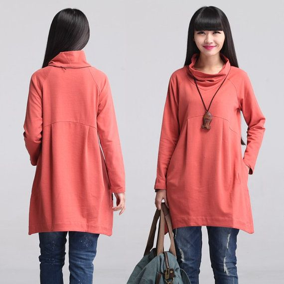 Casual A Shaped Long Sleeved Pile Collar Cotton T-shirt Blouse for Autumn and Spring - Long Sleeve Women Clothing (S-XL)(SY610)
