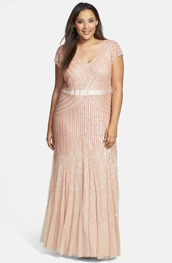 Adrianna Papell Embellished Mesh Gown (Plus Size) available at #Nordstrom WANT WANT WANT WANT!!!