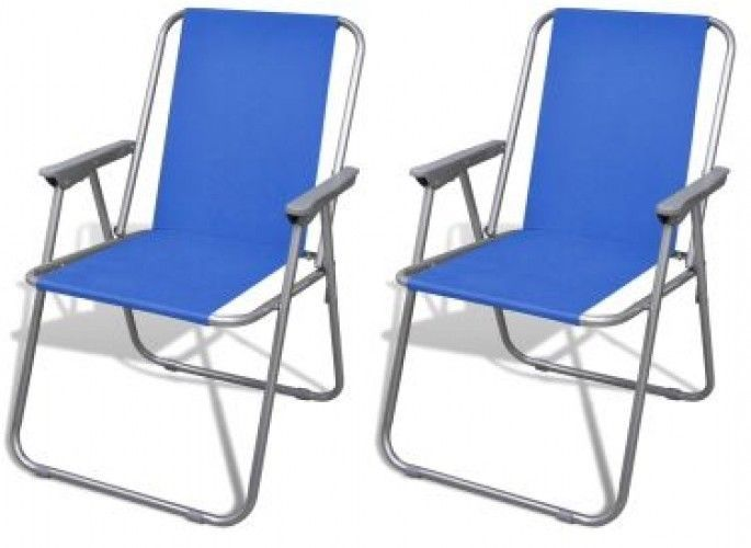 Set of 2 Folding Chairs Garden Patio Seat Camping Outdoor Furniture Blue