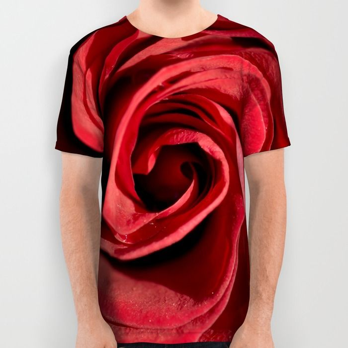 Red rose in LOVE All Over Print Shirt from society6