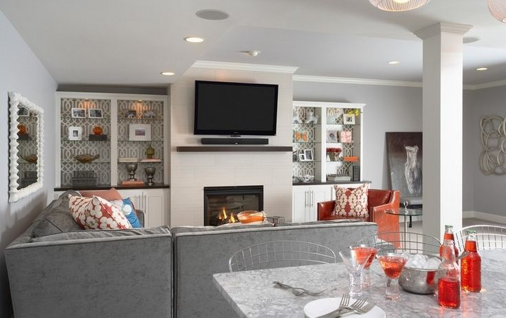 Living Room Modern European Fireplace And Brilliant Glass Wall Shelving Unit Feats Grey