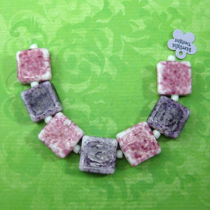 pink u0026 purple fritted square bead set square shaped lampwork beads featuring white glass rolled