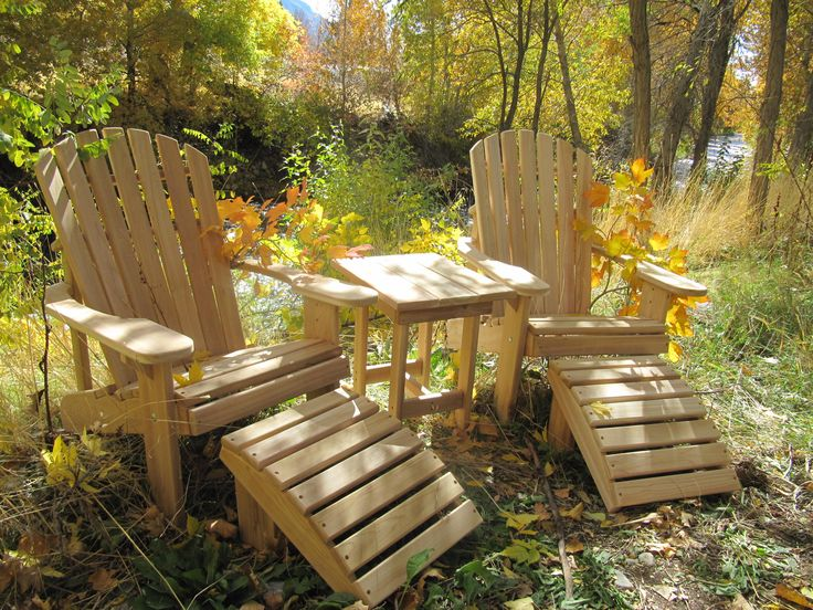 2 Adirondack Chair Kits, 2 Ottoman Kits And 1 End Table Kit  Unfinished