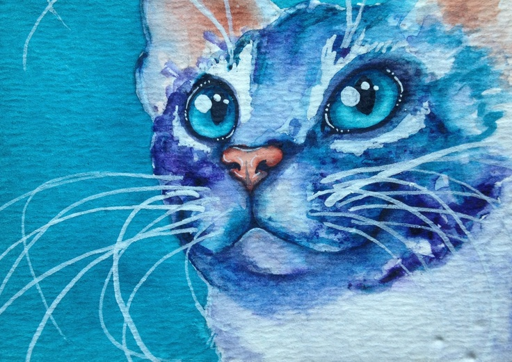 ACEO watercolor kitty cat