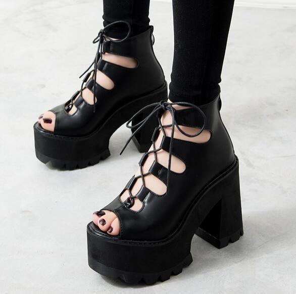 2016 Summer Womens Punk Chunky Heels Platform Open Toe Lace Up Roman Sandals
