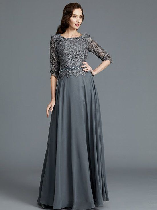 3b5e7478c4586 Grey Long Mother of the Bride Dresses Fall,Elegant Mother of the Bride  Dresses Long with Sleeves,11781 - Landress.co.uk