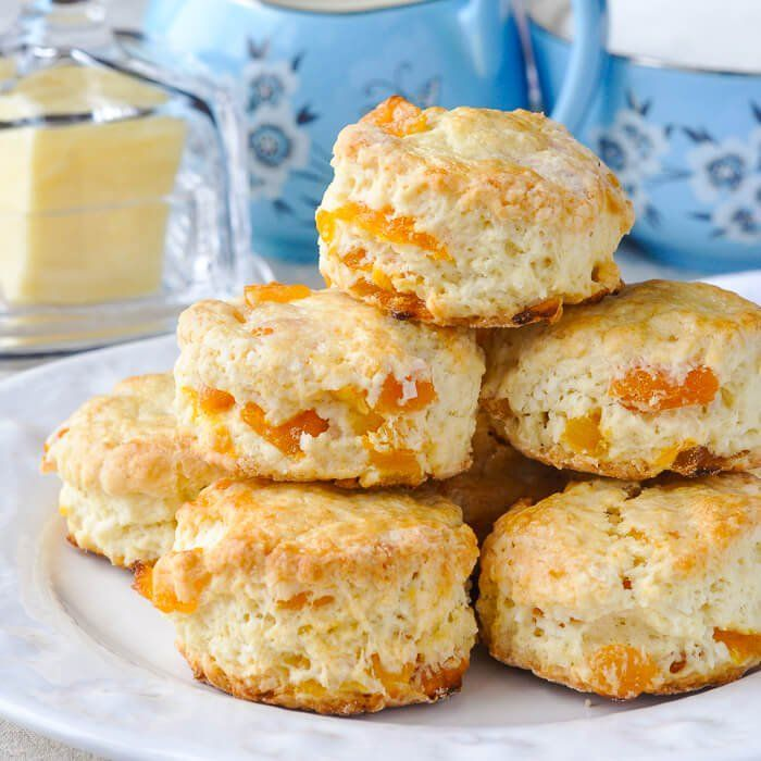 Apricot Coconut Scones - tender scones with great coconut flavour and sweet chunks of apricot baked right in. A dainty, delicious addition to afternoon tea.