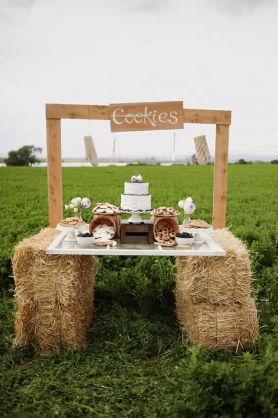 DIY wedding cake and cookies table