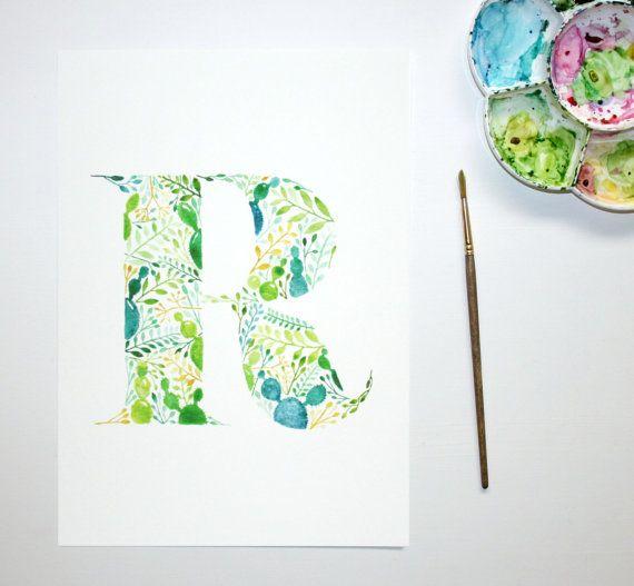 Monogram Letter Art Print Initial Artwork by WorldOfMik on Etsy