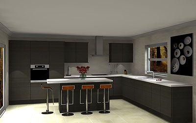 Northampton Kitchens and Bathrooms Dark grey handleless kitchen