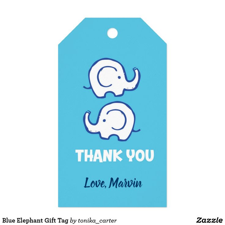 Blue elephant gift tag elephant gifts gift tags gift