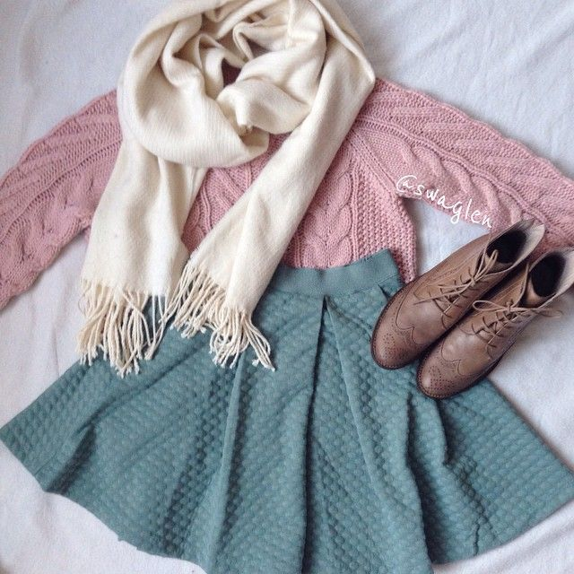 Winter pastel textures. Skirt and boots