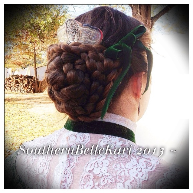 Civil War hairstyle with my Antique 1850's sterling hair comb from England <3