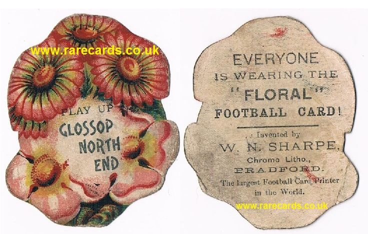 Victorian buttonhole football card of Glossop North End from a series of footy cards from the late 1880s or mid 1890s (by 1899 the club had changed its name, and these cards were issued around 1890)