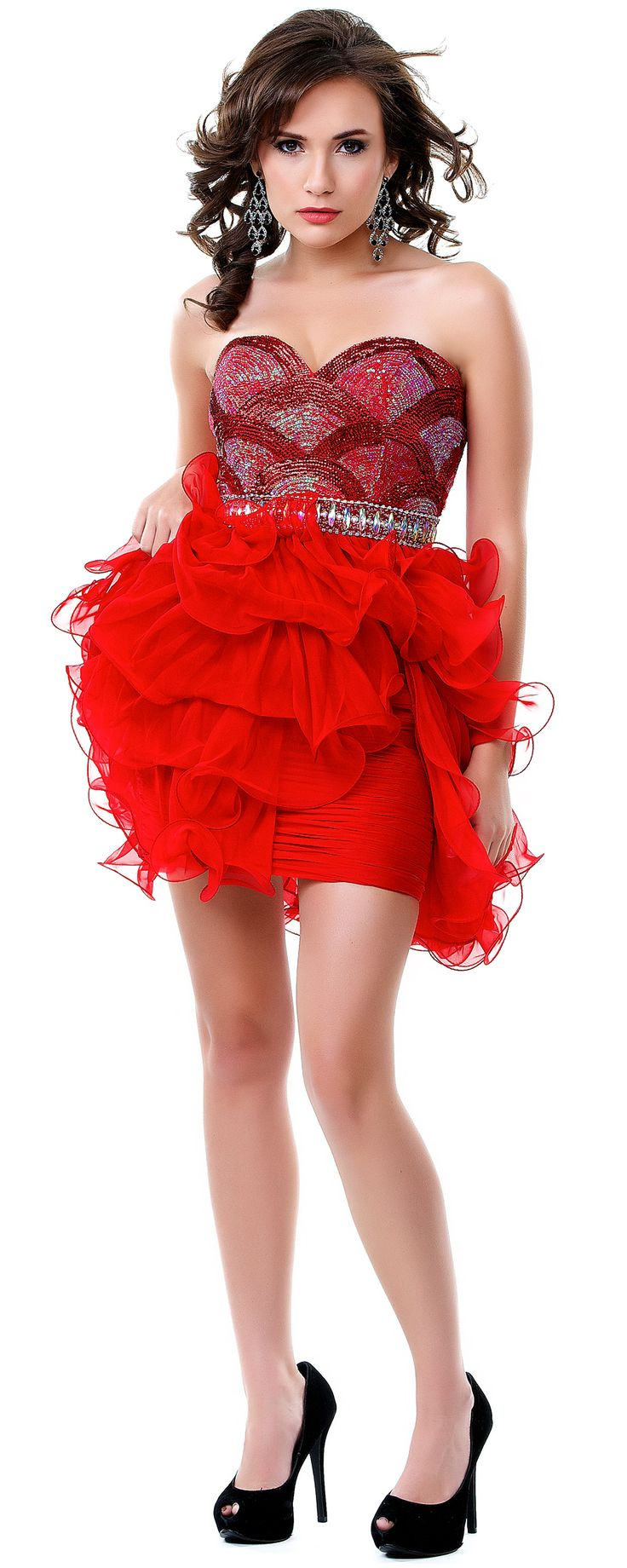 SALE! Red Luscious Layered Strapless Sweetheart Cocktail Dress (29144-CIN11894) van Cinderella Divine Moto - You will be...Price - $99.00-PGHcNXzI