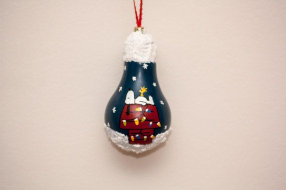 Snoopy Christmas Bulb Ornament by SewCharmingCrafts on Etsy, $7.00