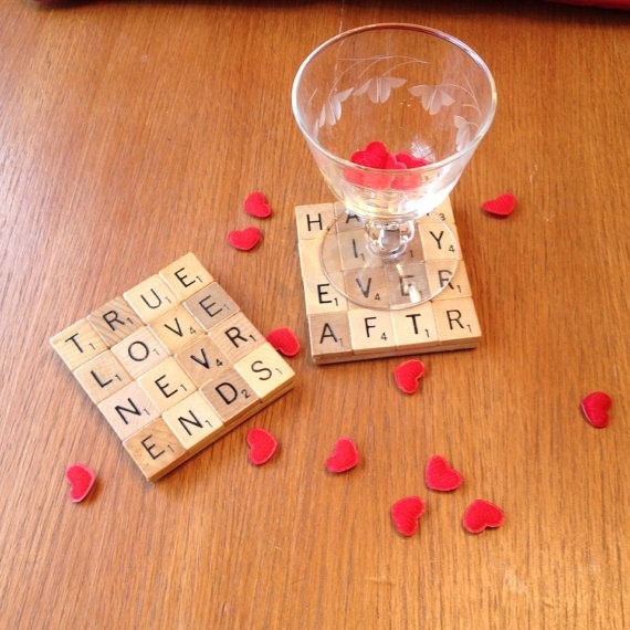 Valentine's Day Drink Coasters, Made to Order, scrabble, great gift for Valentine's Day, Wedding gift or anniversary. More pictures/coaster ideas listed.