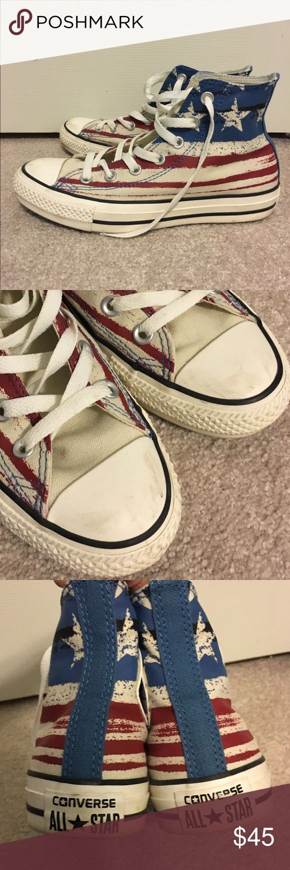 American flag hi-top converse Patriotic American flag print. Worn a couple times, sole is in great condition, minor scuffs on the front and some dirt on the back. Converse Shoes Sneakers