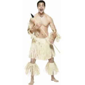 Het Zulu krijgers kostuum bestaat uit een rieten rok, beenversiersel en armversiersels. Dit kostuum is beschikbaar in één maat, one size fits all. Op www.shopwiki.nl #verkleden #carnaval #thema