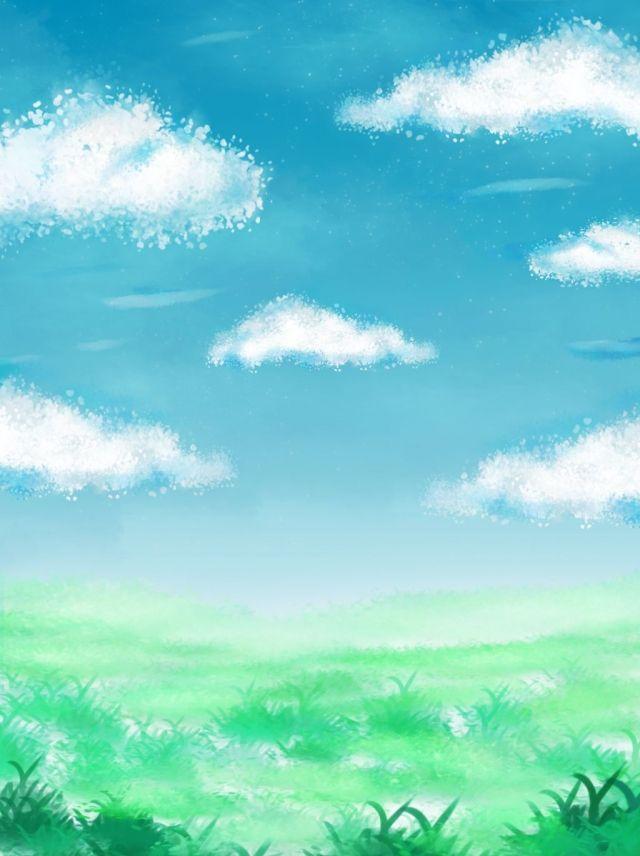Ceu Azul Completo Grama De Jade Branco Mao Desenhada Nuvens Fundo