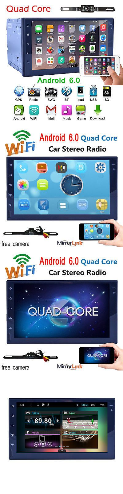 Video In-Dash Units w GPS: Quad Core Android 6.0 4G Wifi 7 Double 2Din Car Radio Stereo Gps Navi+Camera BUY IT NOW ONLY: $169.99