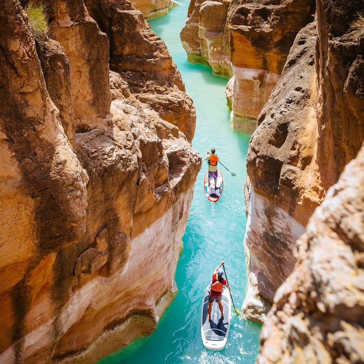 High concentrations of calcium carbonate turn the water a vibrant blue- green in Havasu Creek a tributary of the Colorado River near Grand Canyon National Park. @footloosefotography captured his wife Sabina Allemann and expedi- tion guide Jon Imhoof on inflatable SUPs last June during an 18-day 278-mile journey from Lees Ferry to Lake Mead.That sec- tion is one of the worlds iconic river journeys says Peacock who lives in Santa Barbara California and Queensland Australia. The color was…