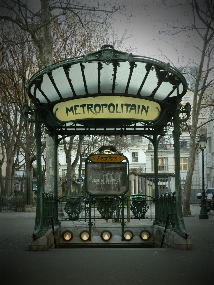 The Paris 'Metro' station entrances were designed by Hector Guimard (1867-1942). Inspired by nature and made from cast iron, they are incredibly beautiful and decorative.